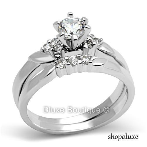 1.15 Ct Round Cut Stainless Steel CZ Engagement Wedding Ring Set Women's Sz 5-11
