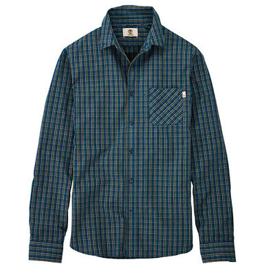 Timberland Poplin Long Sleeve Button Up Green Plaid Mens Shirt A1AZF C14 UA76