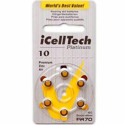Icell Tech Size 10 Hearing Aid Batteries  60 Batteries