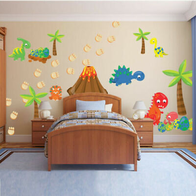 Dinosaur Volcano Cartoon Wall Sticker Animal Decals Kids Room Bedroom Art Decor - Dinosaur Stickers