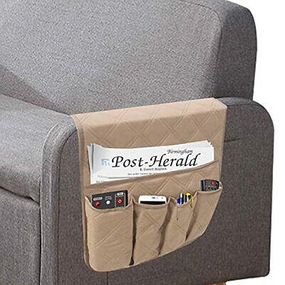 Non Slip Sofa Armrest Organizer Waterproof Armchair Caddy With 5 Pockets Beige