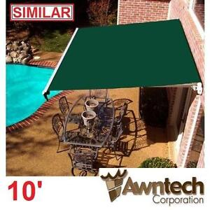 USED* AWNTECH 10' MANUAL AWNING - 117900905 - BEAUTYMARK (8 ft. Projection) GREEN AWNINGS SHADE OUTDOOR COVER PATIO S...