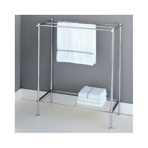 bathroom floor towel rack stand chrome metal storage