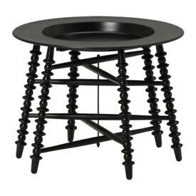 Discontinued IKEA Coffee Side Table Black Metal Tripod Ornate Legs