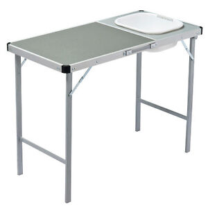 OZTRAIL CAMP TABLE WITH SINK STURDY STRONG STEEL 1METRE HIGH KITCHEN CAMPING