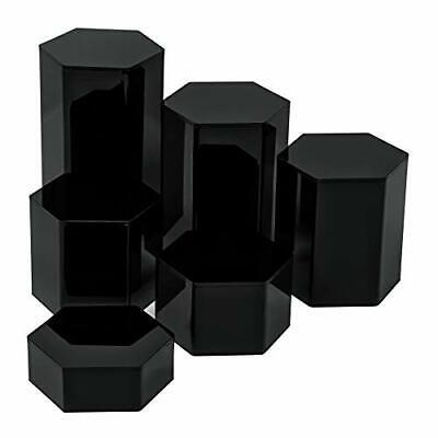 Set Of 6 Hexagonal Acrylic Showcase Pedestal Display Riser Stands Hollow Bottom
