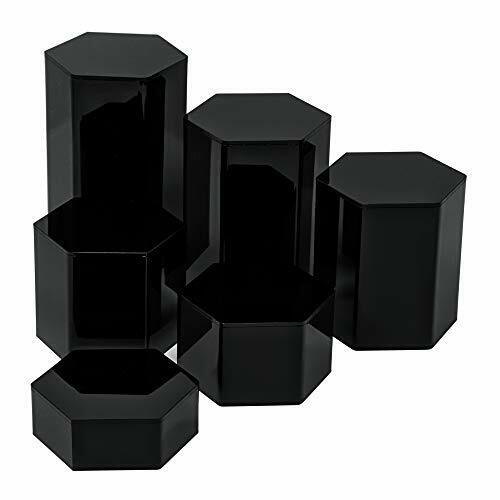 Set of 6 Hexagonal Acrylic Showcase Pedestal Display Riser Stands, Hollow Bottom