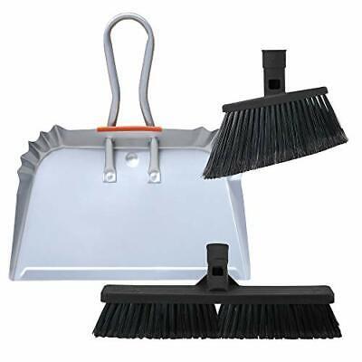 "SWOPT 17"" Steel Dust Pan and Broom Set – Multi-Surface Broom Set Includes SWO..."