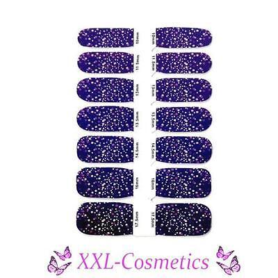 14 x Nagelfolie Nail Art Stripes Folie Blumen Lila / Pünktchen + Feile #NW-8