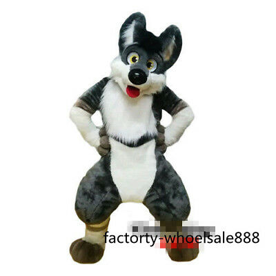 Grey Dog fox Mascot Costume Adults Animal Costume long Fur Suit Fancy Dress (Grey Fox Kostüm)
