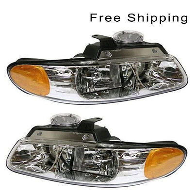 Halogen Head Lamp Assembly Set of 2 LH & RH Side Fits Chrysler Town & Country