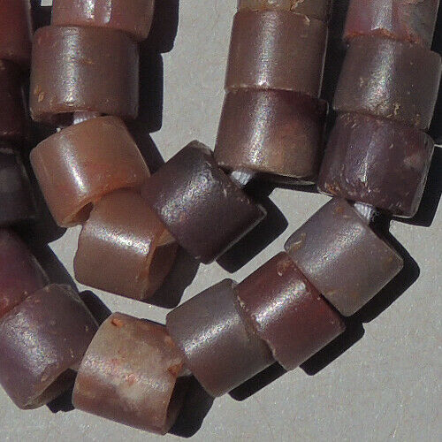 12.5 inch 32 cm strand ancient small cylindrical agate stone beads mali #4137
