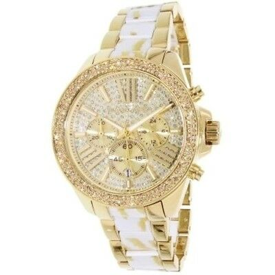 Michael Kors MK6157 Wren White Zebra Gold Tone Crystal Pave Chronograph Watch