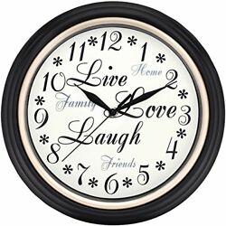 Westclox 32032 Round Live Love Laugh Message Clock 12-Inch