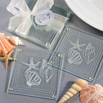 12  Sets of 2 BEACH THEMED GLASS COASTER FAVORS Wedding Favors Seashell Design](Beach Themed Wedding Favors)