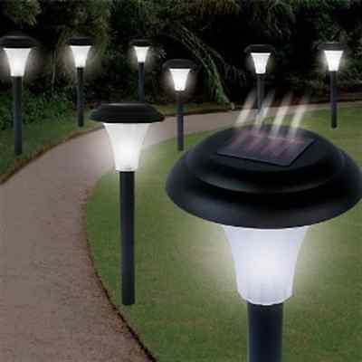 Landscape Yard Lawn Garden Solar Powered LED Accent Pathway Light Set of 8