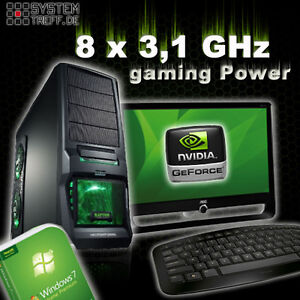 gamer pc game komplett Set mit monitor TFT Computer Rechner AMD FX 8120 8GB RAM