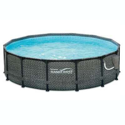 "Summer Waves 14' x 48"" Above Ground Frame Pool Set with Pump, Wicker (Open Box)"