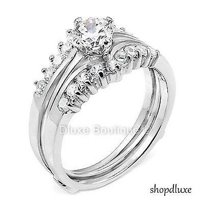 1.50 CT ROUND CUT AAA CZ .925 STERLING SILVER WEDDING RING SET WOMEN'S SIZE 5-10
