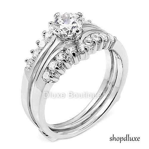 1.50 Ct Round Cut Aaa Cz .925 Sterling Silver Wedding Ring Set Women