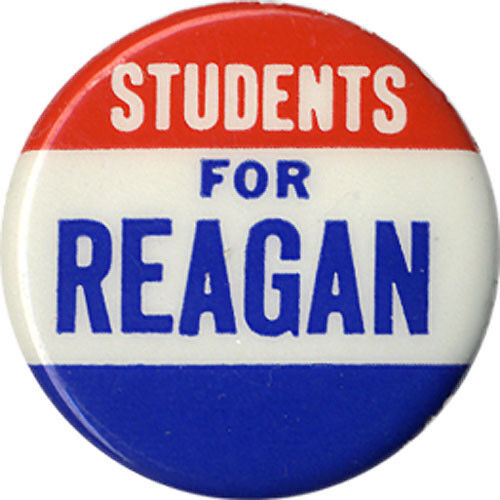 Scarce 1968 Campaign STUDENTS for Ronald REAGAN Republican Primary Button (2643)