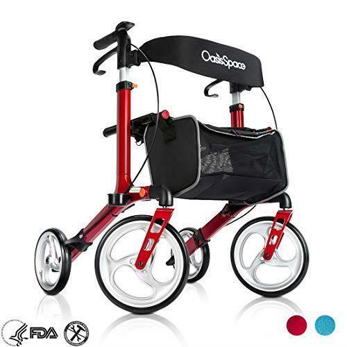 OasisSpace  Euro Style Medical Seat & Back Folding Rollator Walker 4 Wheel US