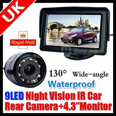 "CAR IR NIGHT VISION REVERSING REAR VIEW CAMERA PARKING KIT +4.3"" LCD TFT MONITOR"