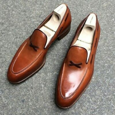 Mens Handmade Brown Formal Leather Shoes Leather Sole And Heel Dress Shoes (Heel Formal Shoe)