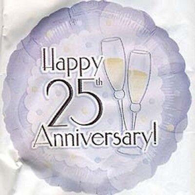(3) Three- 25th Wedding Anniversary Mylar Balloons- Choice #2 (25th Wedding Anniversary Balloons)