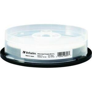 Verbatim BD-R XL 100GB 4X White Inkjet Printable, Hub Printable - 10pk Spindle - 100GB - 10pk Spindle - TAA Compliance