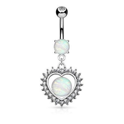 Opal Glitter Center Crystal Heart Dangle Belly Button Ring Navel Naval (w1391) Crystal Heart Dangle Belly Ring