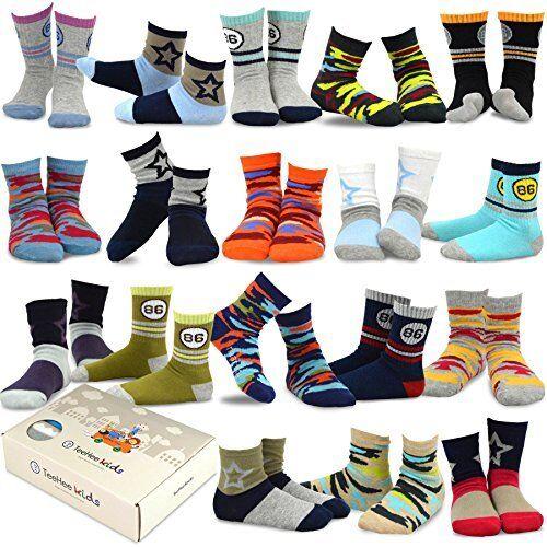 (18 Pair) TeeHee Boys Toddler Kids Socks Sports and Fun Cotton Socks GIFT BOX
