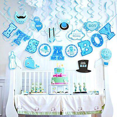 IT'S A BOY Baby Shower Decorations 29 Piece Set BLUE 10 Foot Great for Surprises