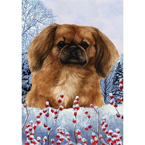 Winter Garden Flag - Fawn Pekingese 150421
