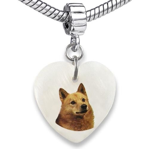 Finnish Spitz Dog Heart Mother Of Pearl European Charm Bead For Bracelet EBS66