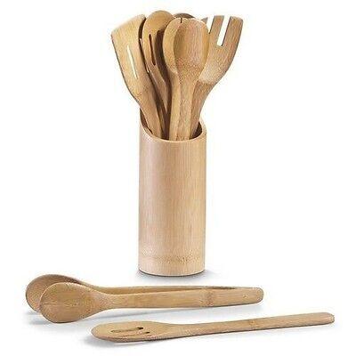 Praktische Küchenhelfer Bambus Kochlöffel Set 7 Teilig Behälter Küche Zange Holz
