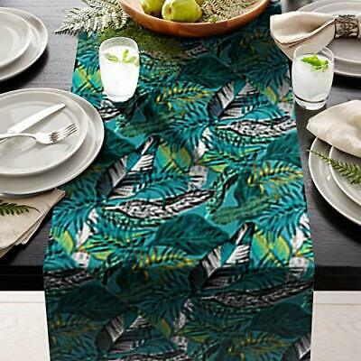 "green Leafs Table Runner 14"" X 108"" Print  great for table setting contemporary"