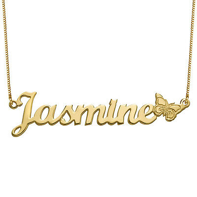 Custom 18K Gold Plated 925 Silver Butterfly Name Necklace Christmas Gift Ideas