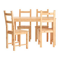 Pine IKEA and Chairs Table for Sale
