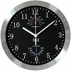 Modern Silent Wall Clock With Silver Aluminum Frame Glass Cover For Kitchen New