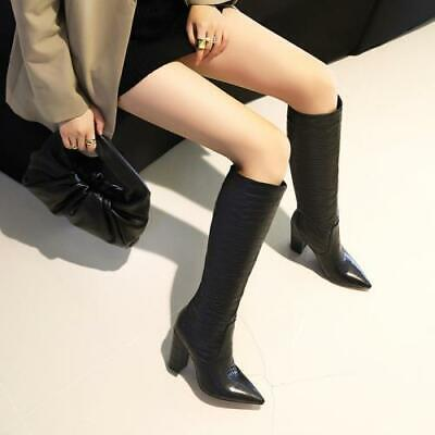 Details about  /Occident Women/'s Slouch Pointy Toe Over Knee High Boots Block Heel Shoes 34//43 L