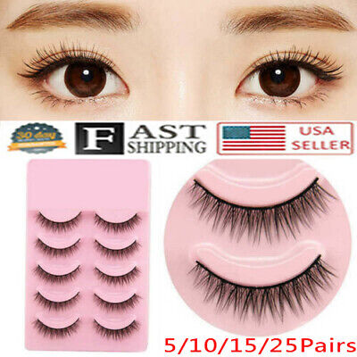 25 Pairs Natural Short Cross False Eyelashes Handmade Makeup