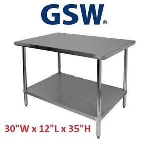 NEW GSW COMMERCIAL SS WORK TABLE WT-E3012 225557964 FLAT TOP STAINLESS STEEL TOP 1 GALVANIZED UNDERSHELF