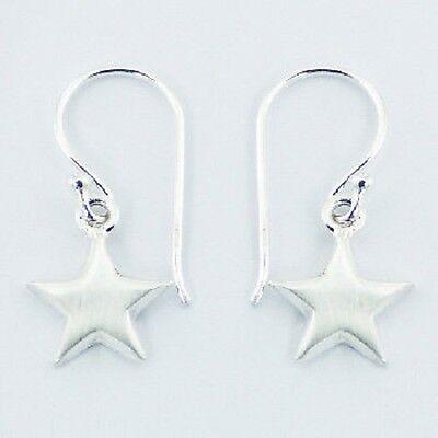 Silver earrings hook drop 925 sterling silver star cute dangle 24mm height