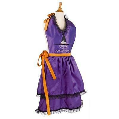 Queen of Halloween Purple Witch Apron Grasslands Road  NWT