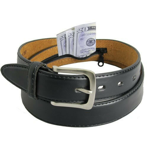 Leather  Money Belt Zipper New Black Safe Size Large Sylish Casual Buckle