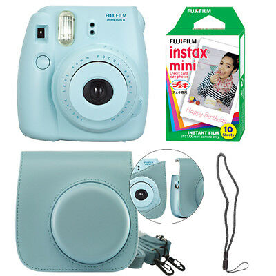 Fujifilm Instax Mini 8 Fuji Instant Film Camera All Colors+ Case & 10 Film Sheet