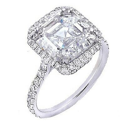 1.90 Ct U-Setting Asscher Cut Halo Diamond Engagement Ring 14K WG F,VVS1 GIA New