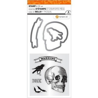 HAMPTON ART ~ TOXIC SKULL ~ Stamp and Die Set Halloween Warning Raven Bats  - Halloween Bat Arts Crafts