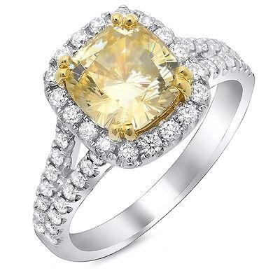 2.05 Ct Canary Cushion Cut Diamond Split Shank Engagement Ring VS1 GIA 14K Gold